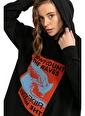 Tiffany&Tomato Önden Yırtmaçlı Kapüşonlu Baskılı Sweatshirt - Siyah Siyah
